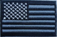 REFLECTIVE USA AMERICAN MILITARY TACTICAL FLAG BLACK  IRON ON PATCH BIKER VEST