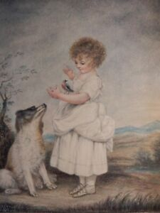 Antique painting of a young girl with bird and dog in a country setting