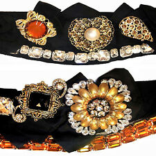 DOLCE & GABBANA  Floral design Swarovski Crystal Brooches Decorated Black  Belt