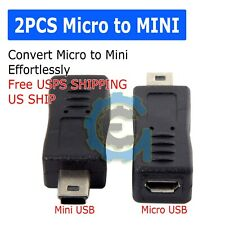 2x Micro USB Female to Mini USB Male Adapter Charger Converter Adaptor US SHIP
