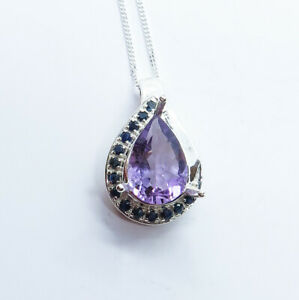 2.7ct Natural purple Amethyst 925 silver /9ct 14k 18k Gold Platinum pendant