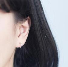 Shiny Solid 925 Sterling Silver Cute Small Half Open Plain Hoop Earrings Gift