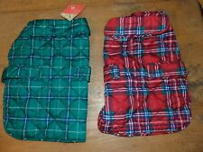St John's Bark Plaid Coats for Dogs Size M Lot of 2 Red Plaid, Green Plaid JCP