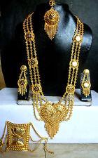 22K Gold Plated Indian Wedding 11'' Long Rani Haar Pakistani Necklace Earrings1