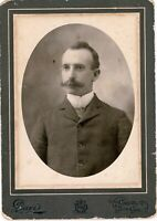 Well Groomed Man w Mustache antique Cabinet Photo Chico California Photographer