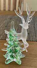 Silvestri Glass Art Crystal Christmas Tree Stag Reindeer Vintage Figure Figurine