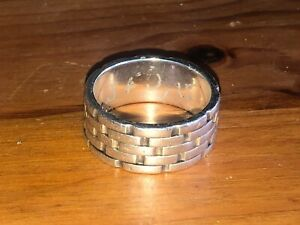 Silver band ring brickwork design with arabic text on the inside large size Y1/2