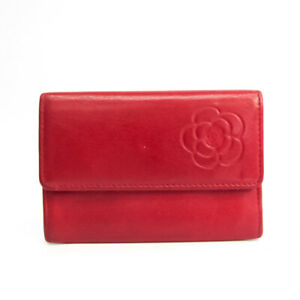 Chanel Camellia Leather Card Case Red Color BF534008