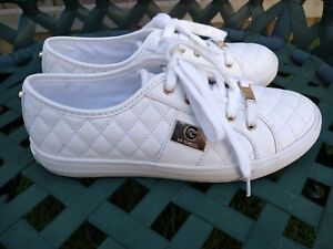 G by Guess 8.5 Women's White Quilted Sneakers gg Backer2 Low Top Sneaker