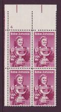 #1932 BABE ZAHARIAS. MINT PLATE BLOCK. F-VF NEVER HINGED!