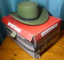 VIntage Stetson Cowboy Western Olive Green Hat Size 6 7/8 3X Beaver, Box, Bands