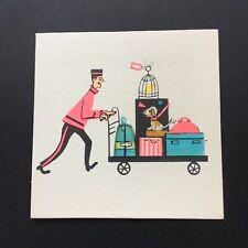 Vintage Mid-Century Bridge Tally~1950s~Porter w/ Luggage & Dog~Unused~Pink, Blue
