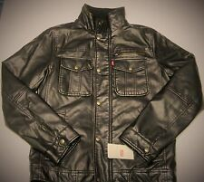 LEVI STRAUS FAUX-LEATHER TRUCKER MOTORCYCLE JACKET MENS SIZE SMALL NWT