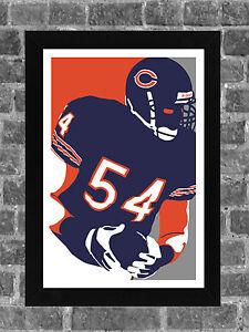 Chicago Bears Brian Urlacher Portrait Sports Print Art 11x17