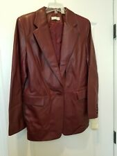 Lord & Taylor Women's Vintage Burgundy Leather Jacket 1 Button Size 14 MSRP$300