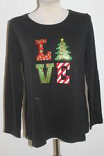 Black Quacker Factory Love Christmas Logo Sweatshirt Top - size Large &  New