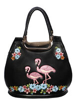 Dusty Pink Flamingo Floral Rockabilly Vintage Black Handbag By Banned Apparel