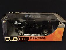 1/18 Jada Toys Hummer H2 Humvee SUV Black DUB Big Ballers Spin Tech Wheels New