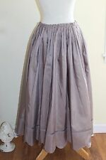 Krista Larson Very Full Lilac Silk Taffeta Pintucked Scallop Cut Hem Skirt O/S