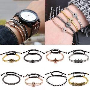 Mens Womens Beads Balls Braided Macrame Bracelet Wrap Handmade Jewellery Gift
