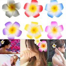 10 PCS Hawaiian Frangipani Plumeria Foam Head Flower Party Beach Hair Clip 8cm