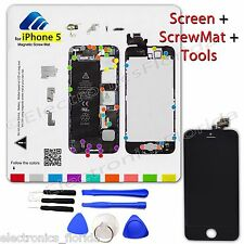 LCD Digitizer Glass Touch Screen + Magnetic ScrewMat + Tools for Iphone 5 Black