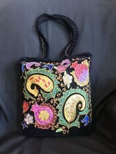 Uzbek silk embroidered velour fabric ethnic purse, tote