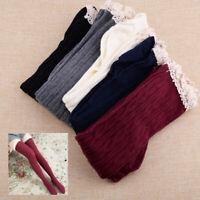 Girls Over Knee Cotton Knitting Thigh High Stockings Lace Socks Ladies Women