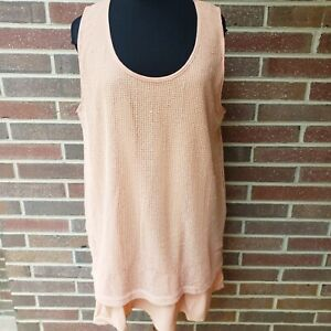 New Simply Noelle 2X Coral Pink Layered Ruffle Top Tank Blouse Women's Plus Size
