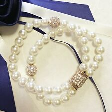 18K Rose Gold Plated Diamond Studded Bead Double Strand Simulated Pearl Bracelet