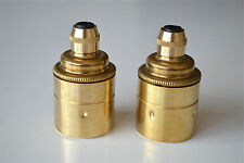 Pair of quality brass E27 Edison screw in bulb holder light lamp cord grip L14