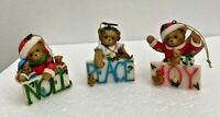 Cherished Teddies Joy Noel and Peace Ornaments 4014297