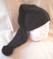 Handmade Knit Hat/beanie - Black, extra long