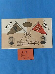 1907 POSTCARD & FOOTBALL TICKET STUB PURDUE vs WISCONSIN UNIVERSITY Capt picture