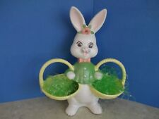 Vtg.Ceramic Easter Bunny Rabbit~Holds 2 Baskets~Candy Holder~Figurine~Adorable!