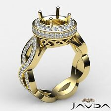 1.3Ct Round Diamond Engagement Semi Mount Ring Halo Pave Set 14k Yellow Gold