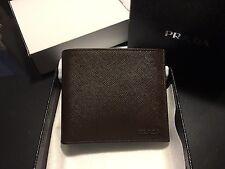 NWT Prada Saffiano Bicolor Wallet Caffe Nero Brown Black 2MO513