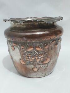 """Antique Silver Copper Flower Pot Planter 5"""" Floral Benetfink & Co Cheapside"""