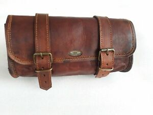 Motorcycle Pouch Brown Leather Bags Round Tool Pouch Saddlebags Panniers Saddle