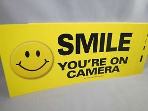 WHOLESALE LOT OF 10 SMILE YOU'RE ON HIDDEN CAMERA STICKER sign security decal