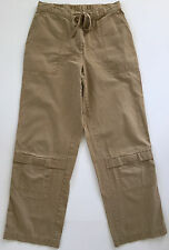 J. JILL Womens Brown Beige Cinch Elastic Waist Cargo 100% Cotton Pants Sz 6