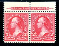 USAstamps Unused VF US 1895 Washington Imprint Pair Scott 267 OG MH