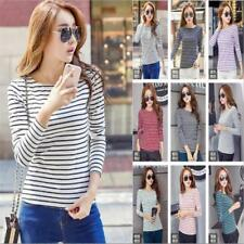 3XL Fashion Women's Long Sleeve Shirt Striped Casual Blouse Slim Tops T-Shirt