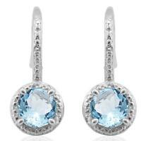 Ohrringe/Ohrhaken Sandra, 925er Silber, 2,197 Kt. echter Blautopas/Diamant