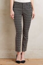 $128 Anthropologie Black Patterned Charlie Trousers Slacks Cartonnier 0P Petite