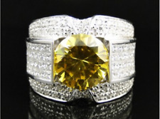 Men's Pinky Ring Round Cut Yellow Sapphire White Gold Over Wedding Band 3.30 CT