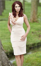 Amy Child Bodycon Corsage Dress 16 Pink Peach Nude Pencil Evening Wedding Party
