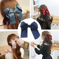 Vintage Girls Women Hairpin Hair Clamp Ribbon Bow Clip Spring Barrette