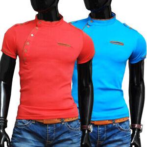 Men Crew Neck Summer T-Shirt Vivid Colours Slim Fit Cotton S M L Suede Finish