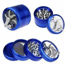 "Blue Herb Grinder w/ Handle Spice Crusher for Tobacco Hand Muller 2"" 4 Piece"